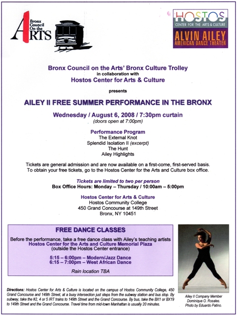 Free Alvin Ailey Dance performance on the Trolley Tonight!